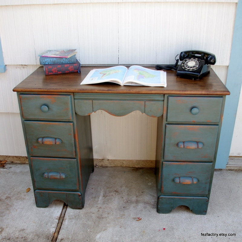 Old world teal writing desk by fezfactiry on Etsy