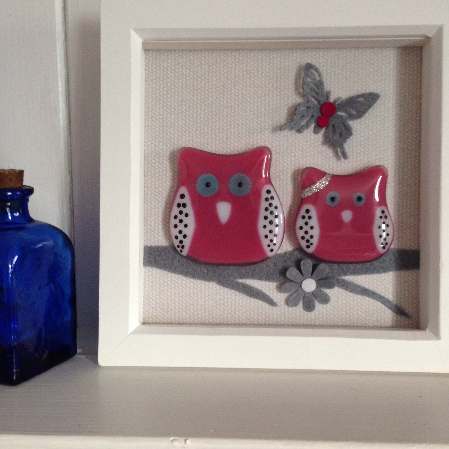 Personalised Gift Owl Picture Fused Glass Art Cute Animal Picture