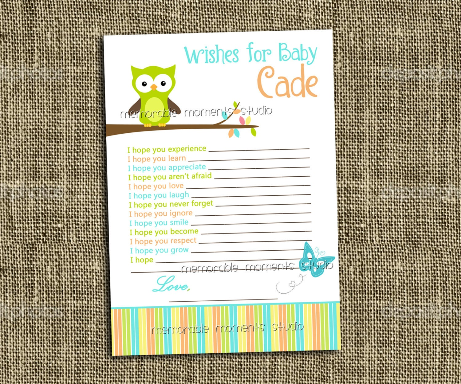 printable wish list owl baby boy shower by memorablemomentsst