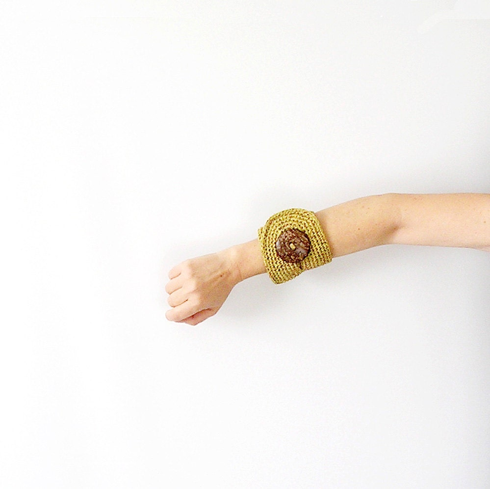 Crochet  Bracelet Cuff  Gold Crochet Bracelet Crochet Jewelry - callmemimi