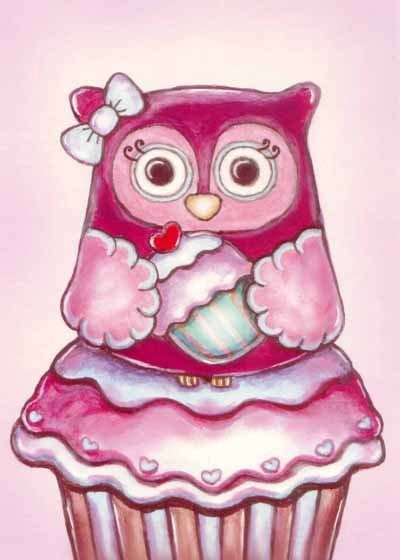 rkdsign88.blogspot.com etsy owl illustration drawing art print cute whimsical reproduction digital animal cupcake
