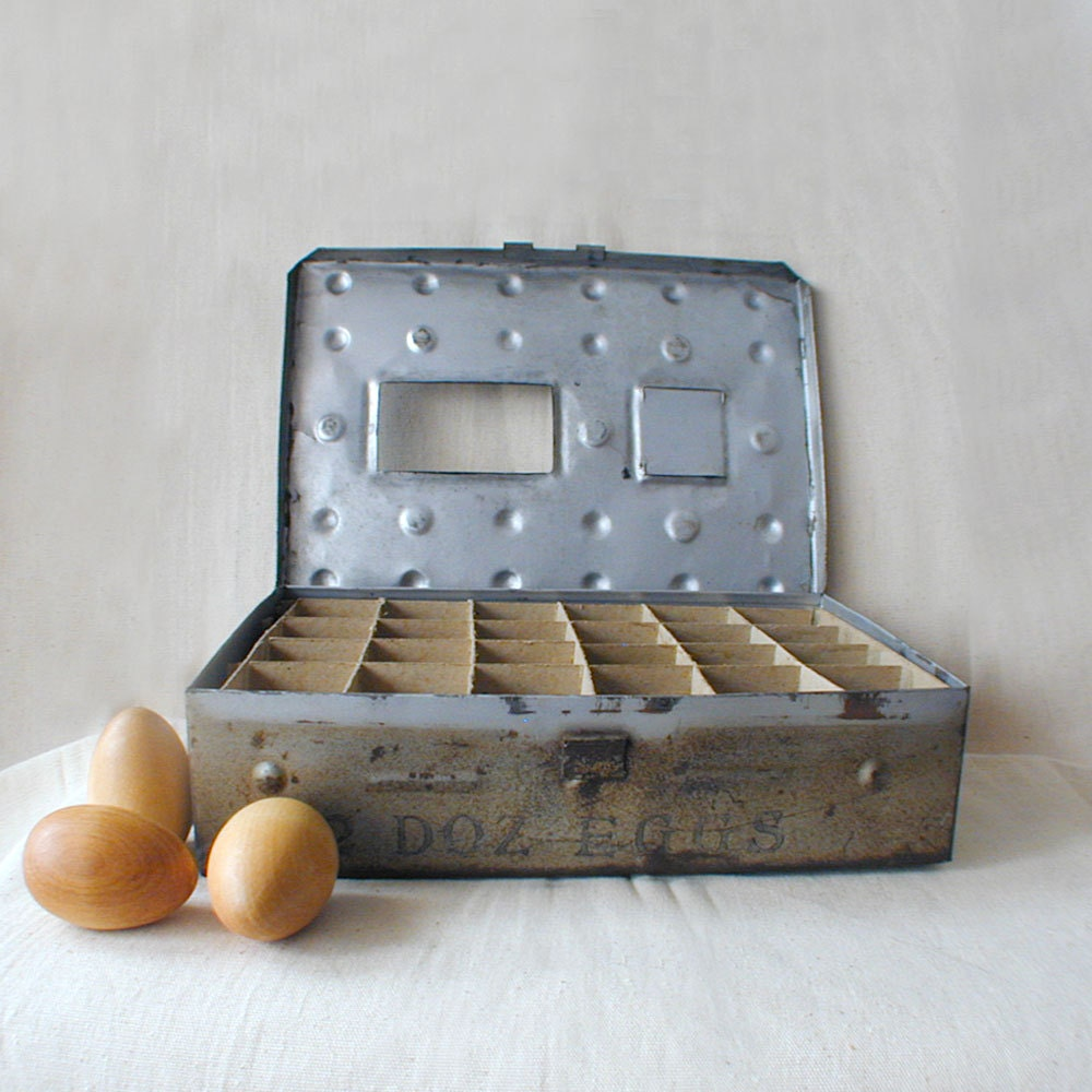 Metal farm egg crate antique farm postal shipping by for Metal shipping crate