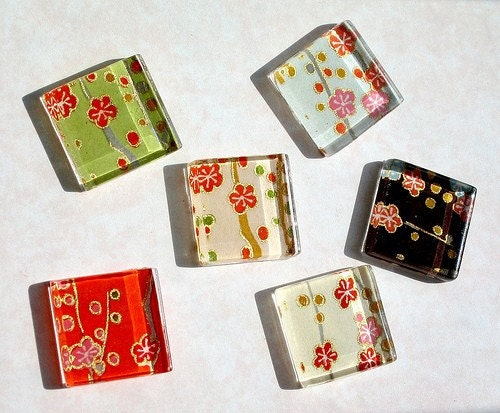 Chiyogami Plum Blossoms Glass Tiles Magnets