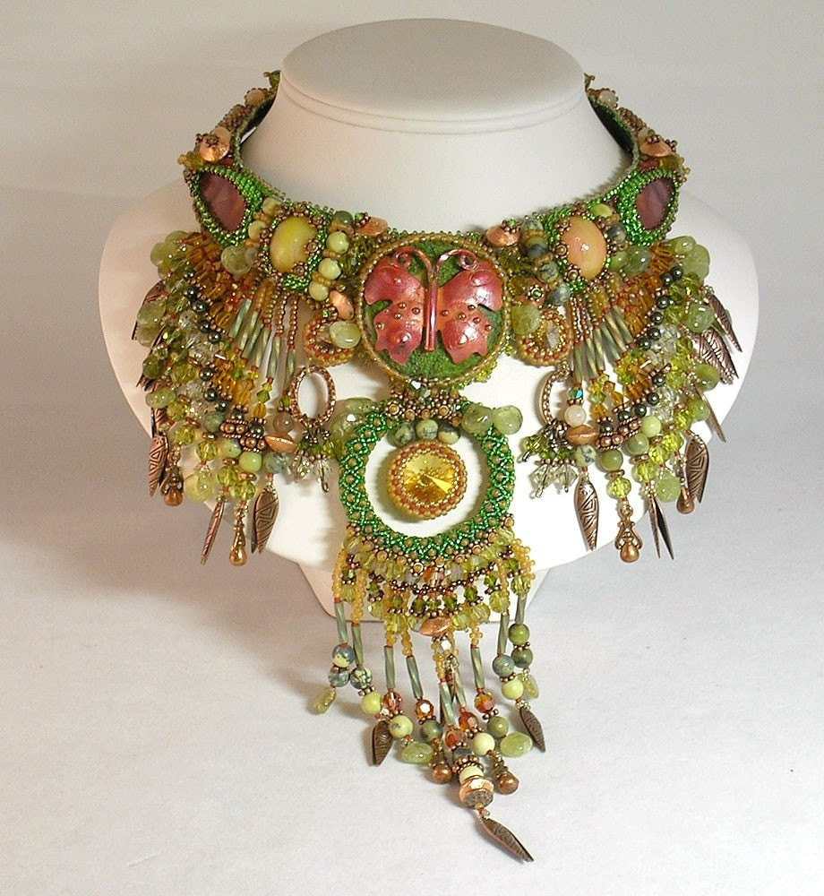 green gold red butterfly necklace