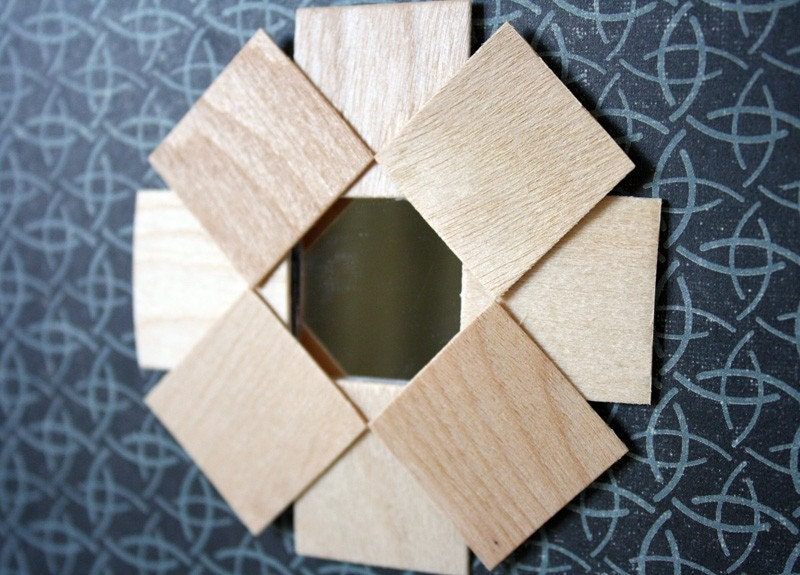 "Miniature Art Deco Mirror, ""Sun Flower"" Wood Frame, Wall Decor in 1:12 Scale"