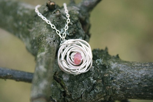 Lil' Girls Nest : necklace . birthstone . sterling silver