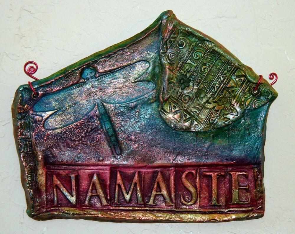 Dragonfly Namaste Ceramic Wall Hanging