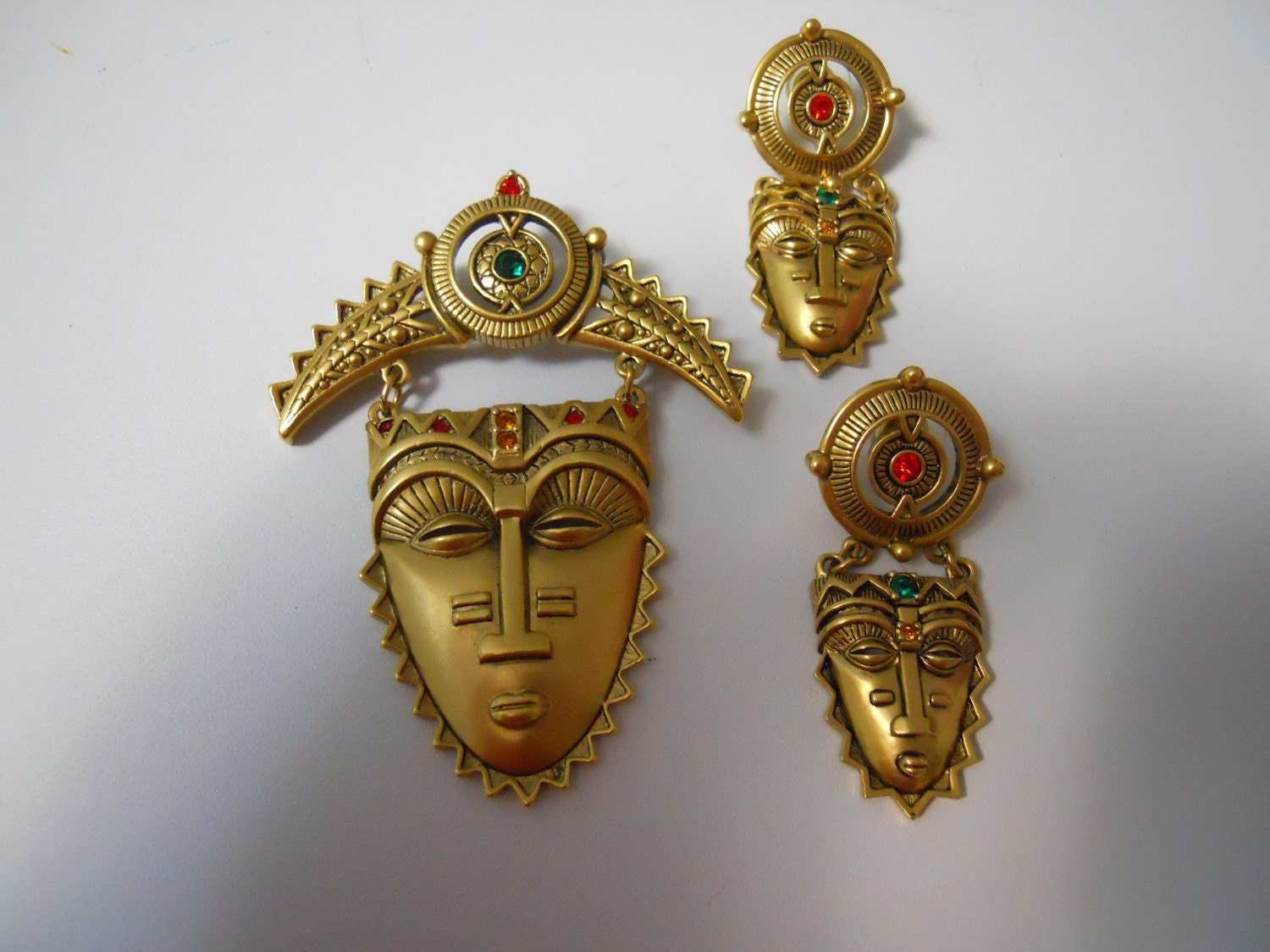 Vintage Avon Tribal Mask Demi Parure by VintageTempest on Etsy from etsy.com
