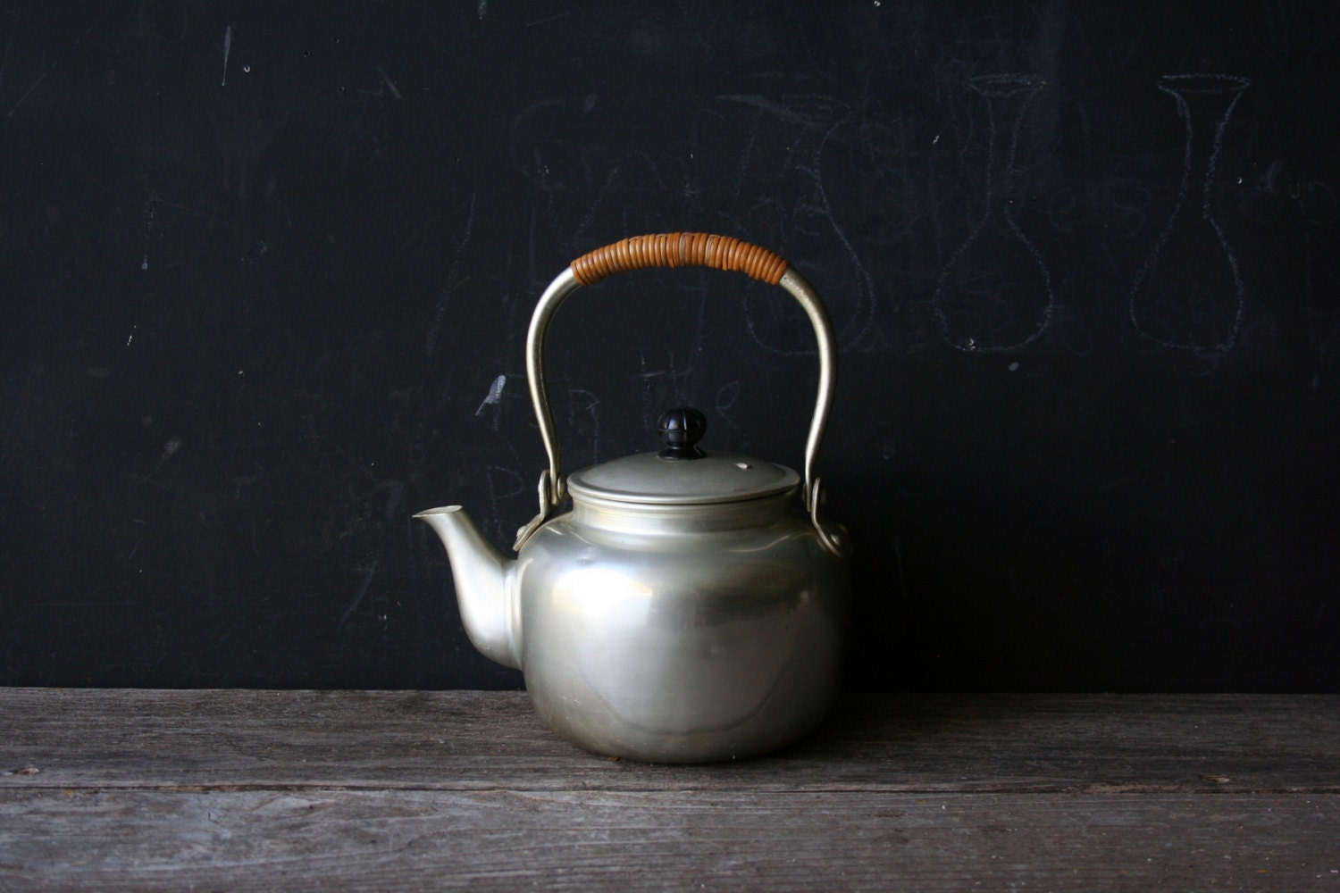 Vintage Personal Teapot Silver Color Aluminum  and Bamboo From Nowvintage on Etsy - nowvintage