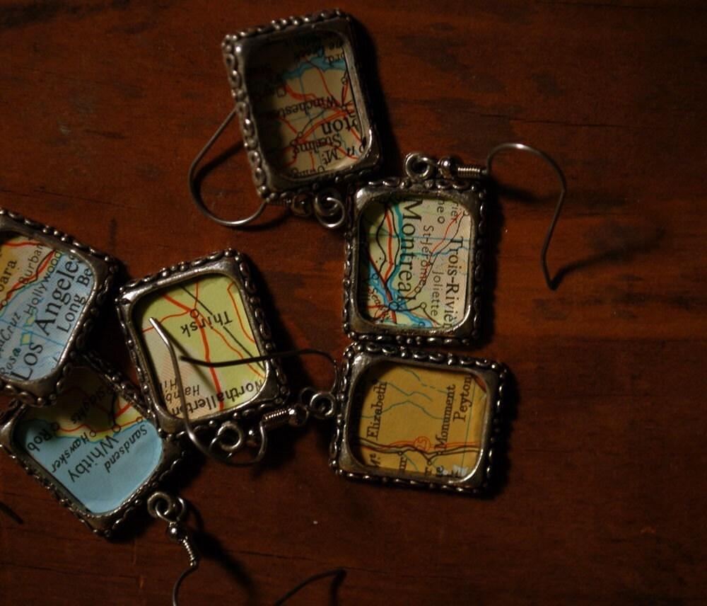 Custom Map Earrings