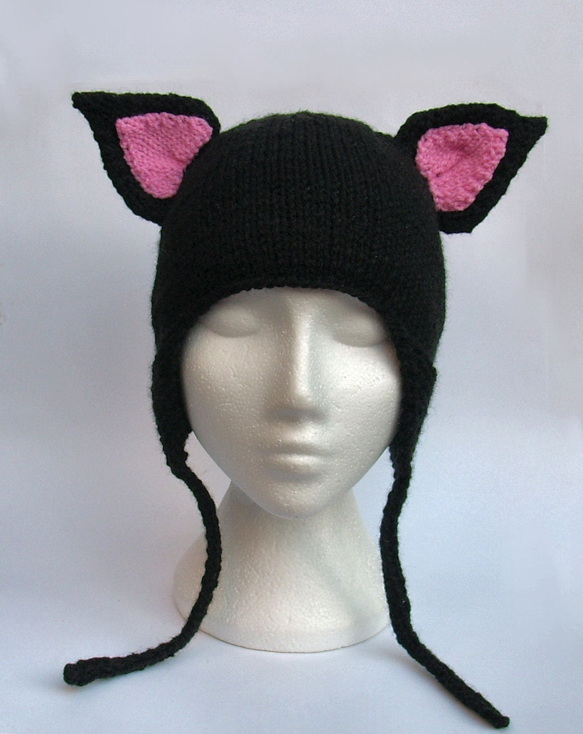 Pink Knitted Hat With Cats Ears