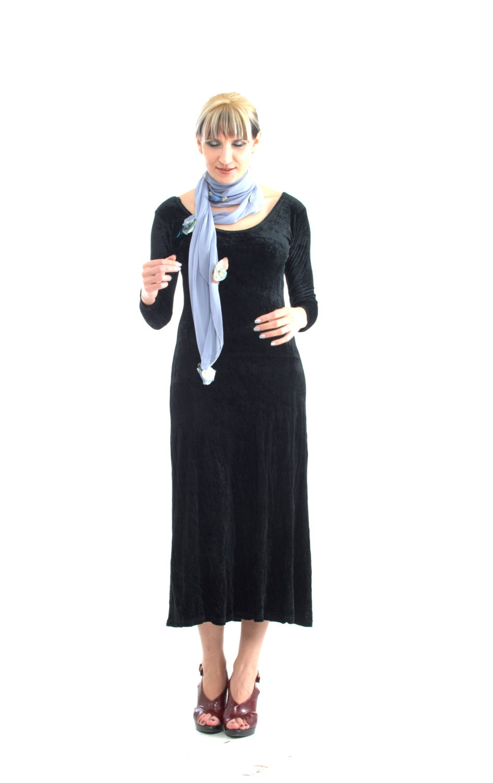 semi long velvet dress jersey - LaBellaEpoque