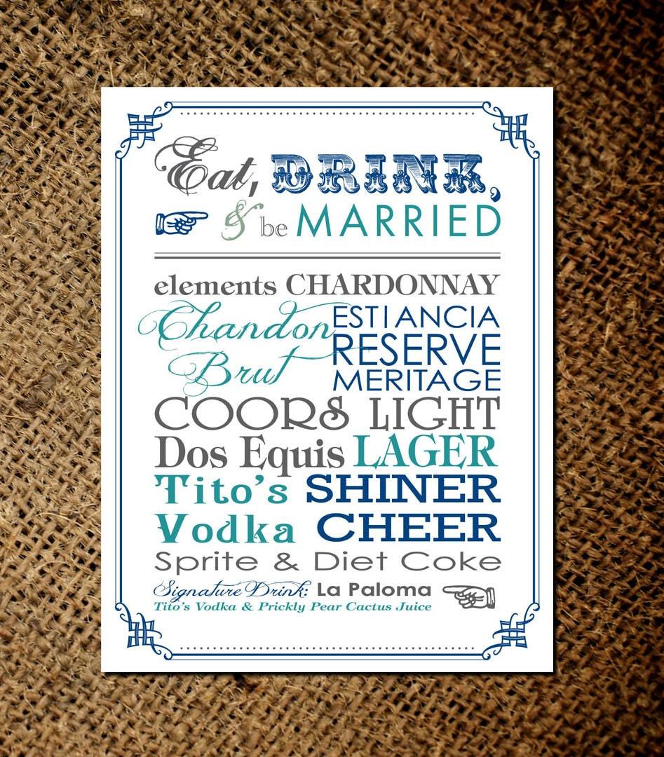 Diy Drinks Food Printables: Bar Menu Card Custom Eat Drink And Be By Differentdesigns10