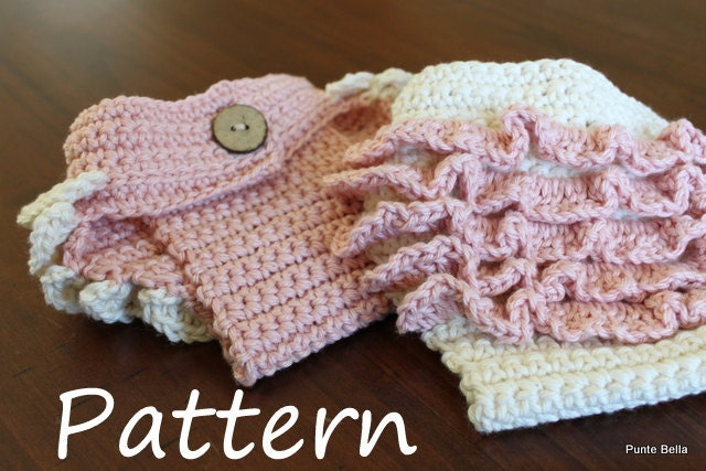 Free Crochet Pattern Diaper Cover With Ruffles : Crochet PATTERN Ruffle Diaper Cover Newborn Girl by PunteBella