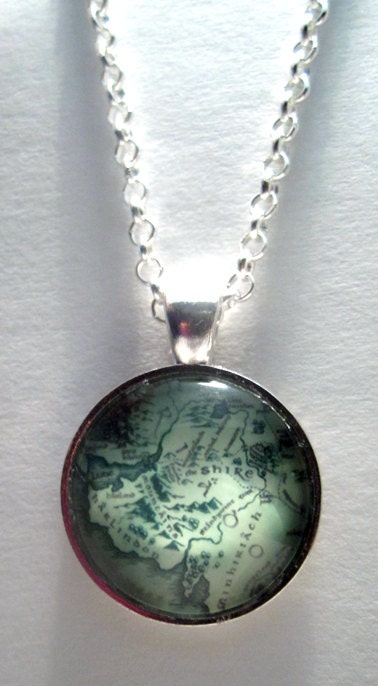 middle earth map necklace lord of the rings by