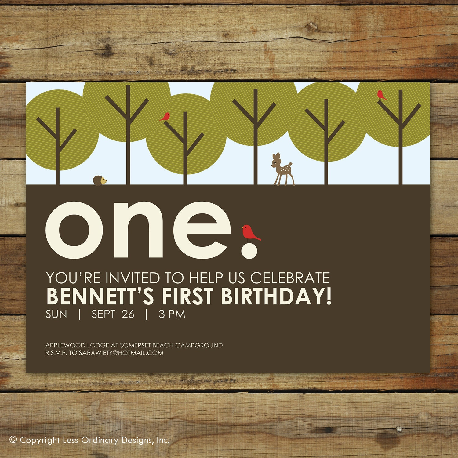 Forest First Birthday Party Invitation By Saralukecreative