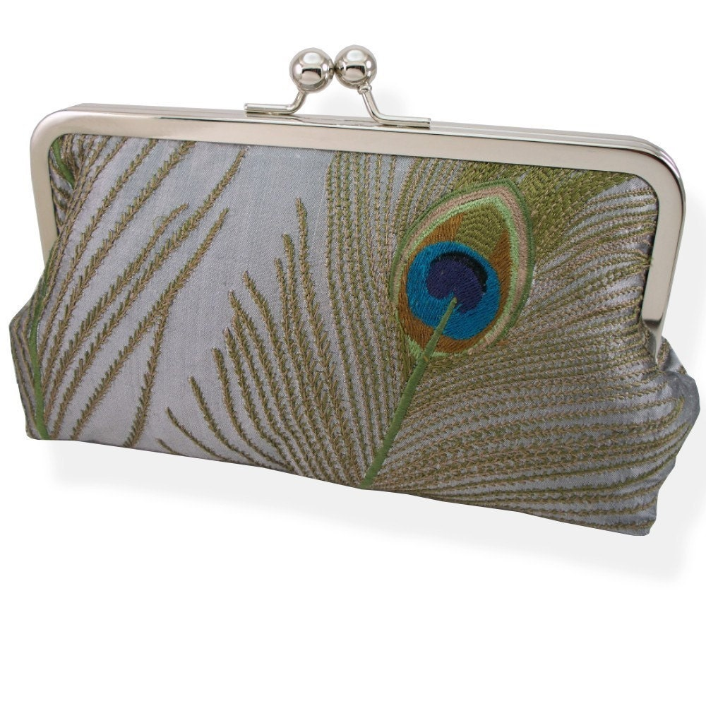 Peacock Feathers Embroidered Silk Clutch Silver and Navy Blue