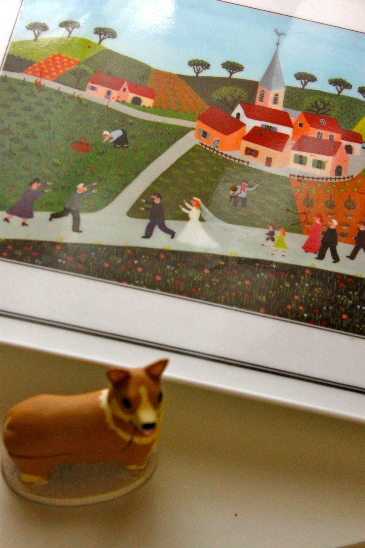 Wedding Serving Tray Platter With Whimsical Folk Art