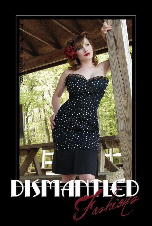 ANY SIZE - Black Dots Catie May Dress Rockabilly Psychobilly Pin Up