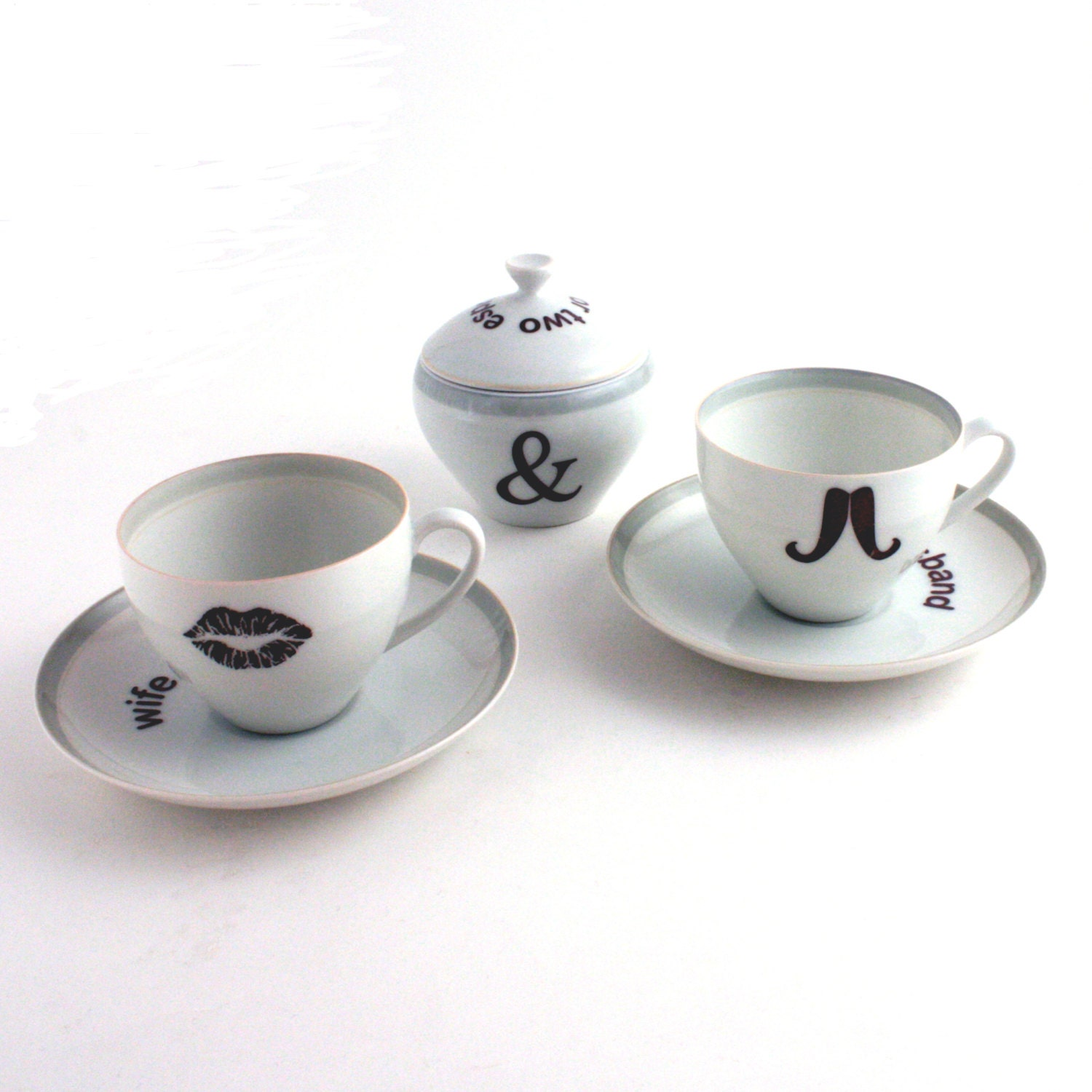 Husband & Wife Couple Redesigned  2 Coffee Espresso Cups with Saucers and Sugar Pot Porcelaiin Moustache  Lips Vintage White Wedding Present - MoreThanPorcelain