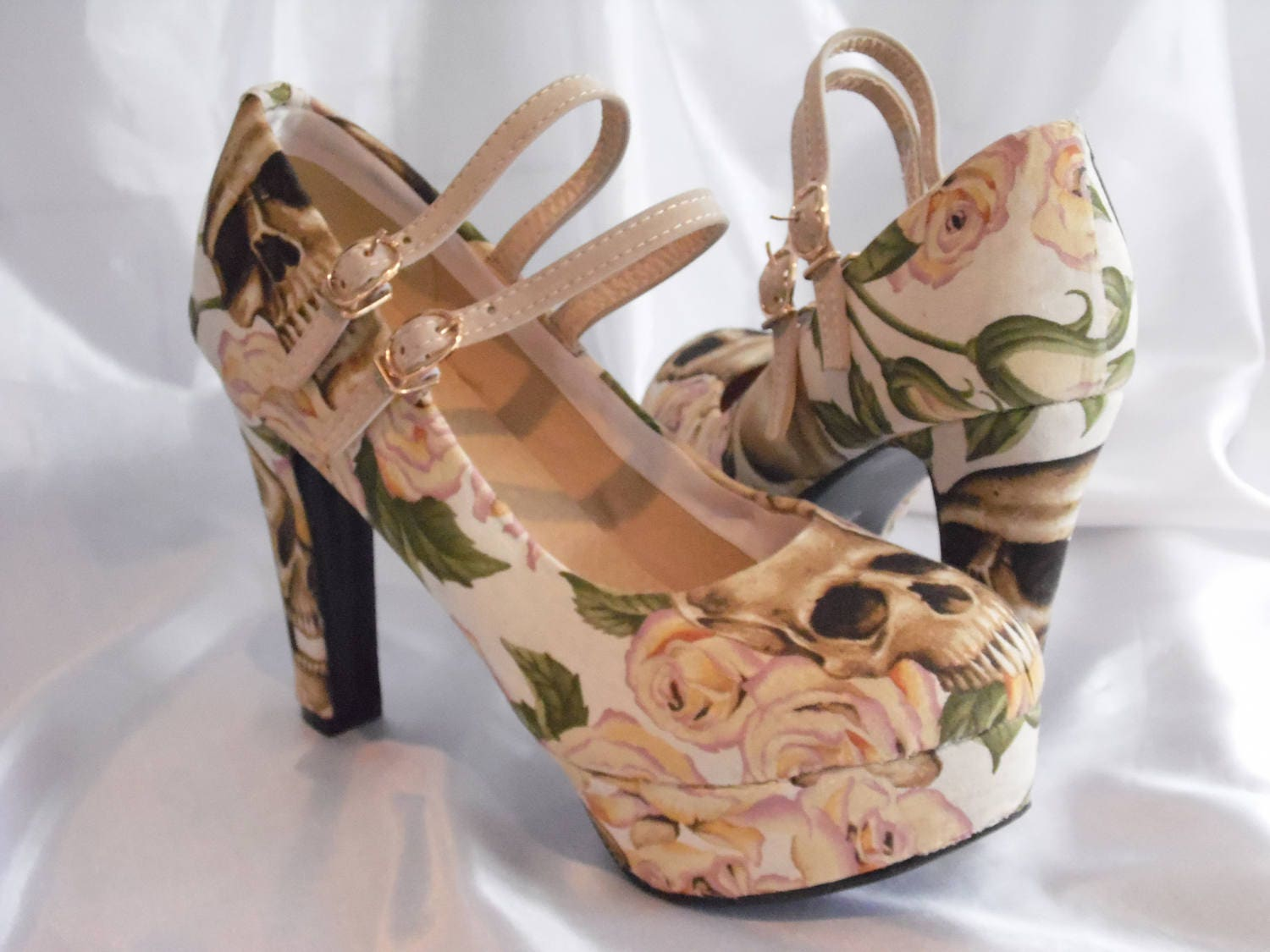 Custom Shoes  Womens Shoes  Skull Rose Fabric  Alexander Henry inspired shoes  Alternative Wedding Shoes  Mary Jane Style shoes