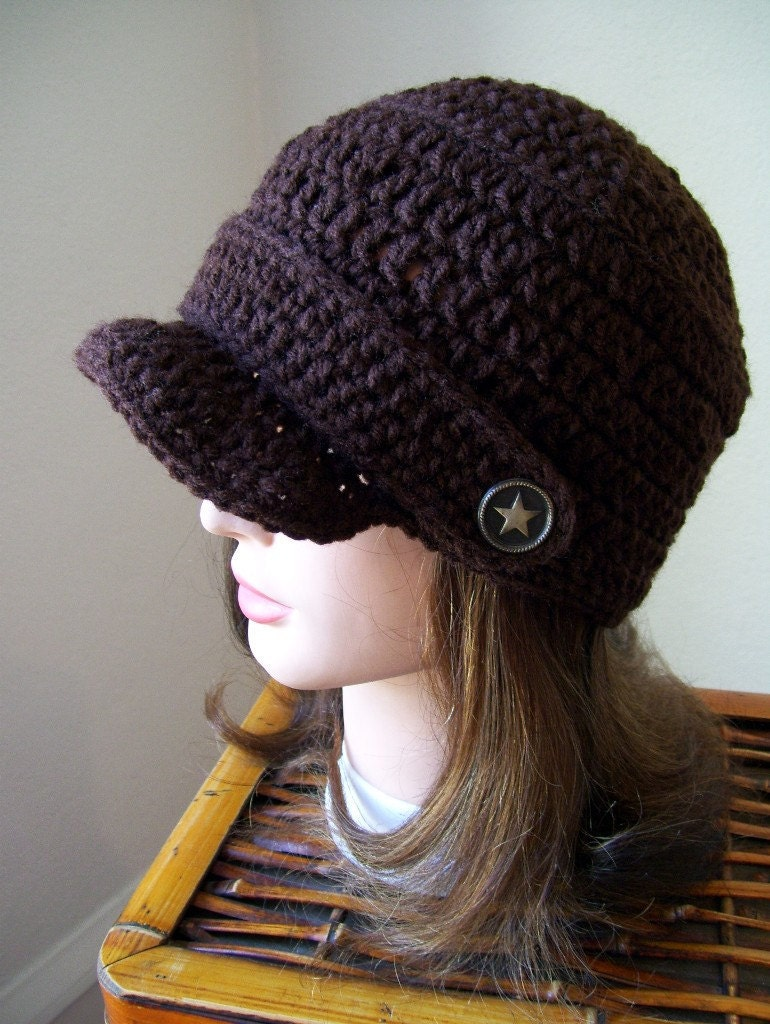 Newsboy Hat Crocheted With Star Buttons Coffee