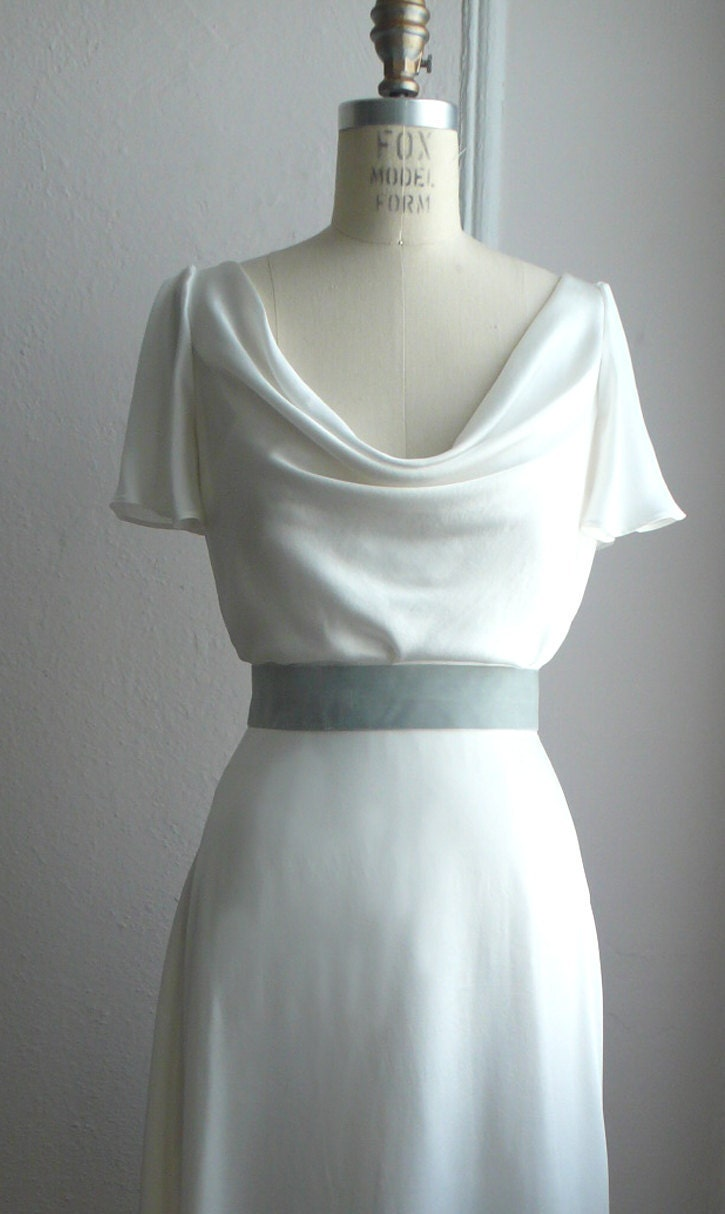 Unavailable listing on etsy for Satin cowl neck wedding dress