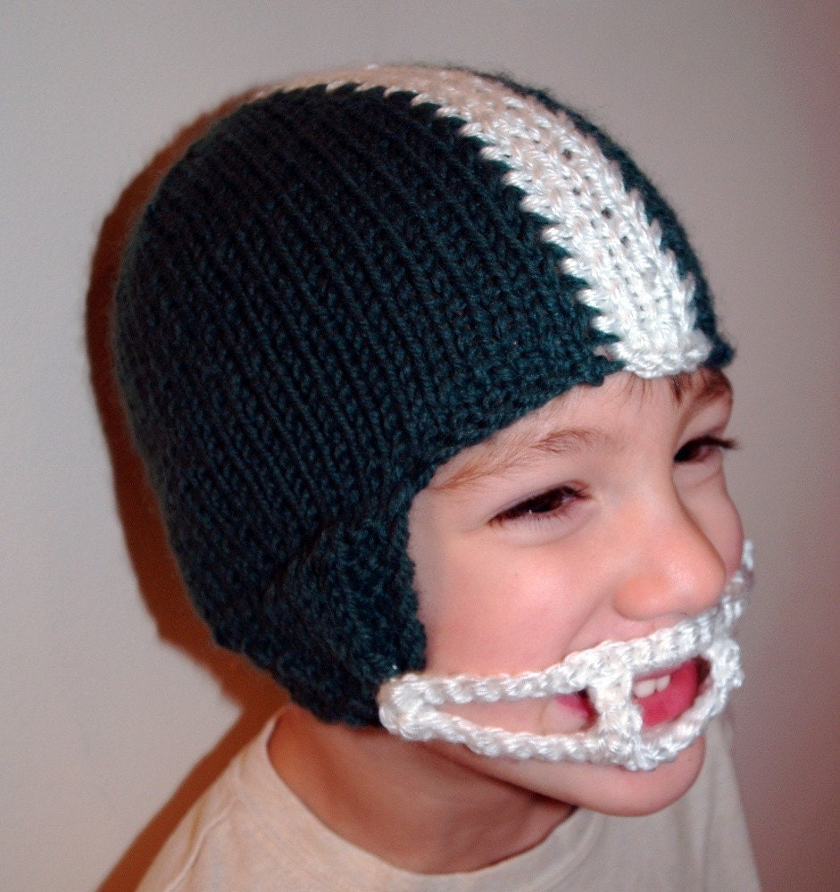Free Crochet Pattern For Helmet Hat : Knit PATTERN Football Helmet Hat PDF by TraceyKnits on Etsy
