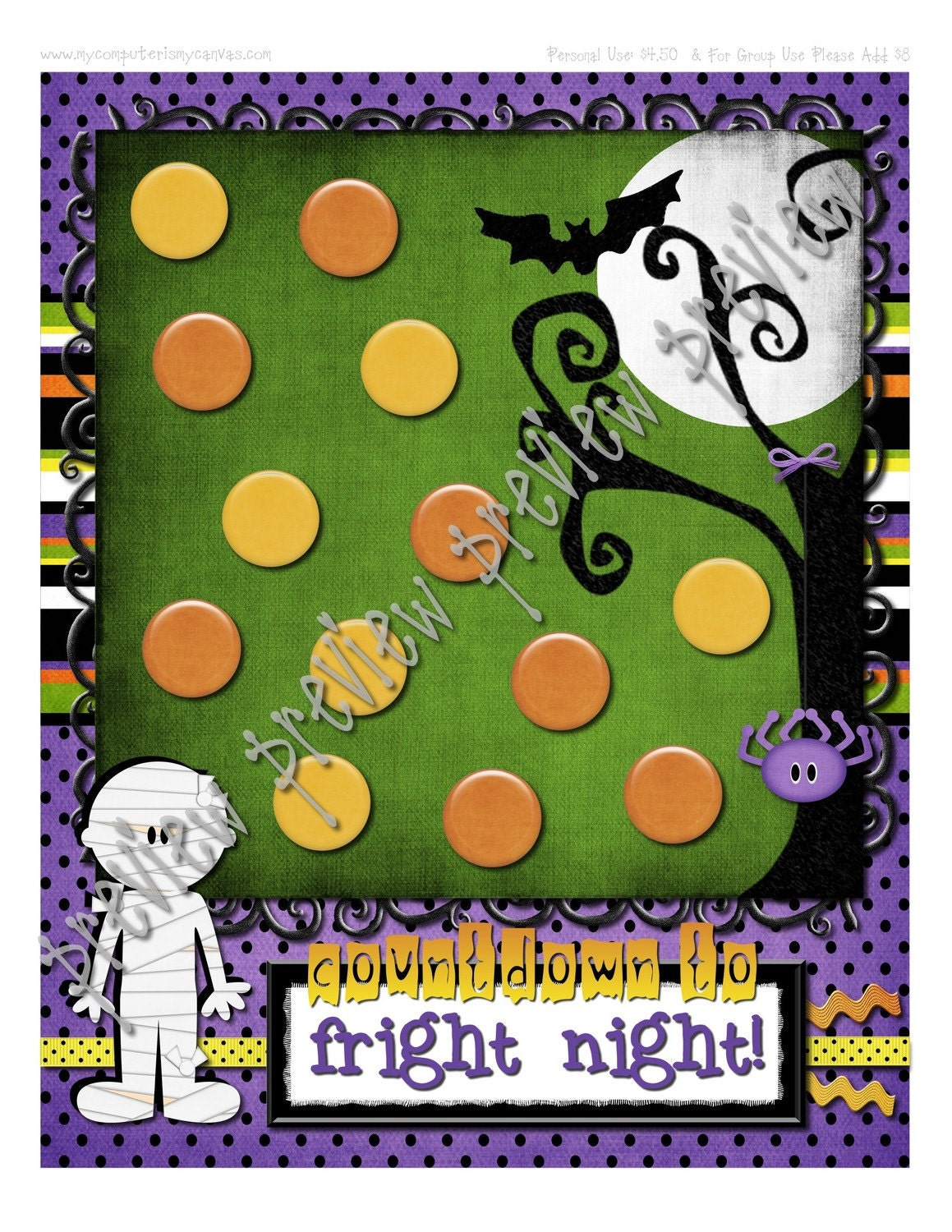 CLEARANCE Halloween Countdown to Fright Night Advent - INSTANT DOWNLOAD Printable