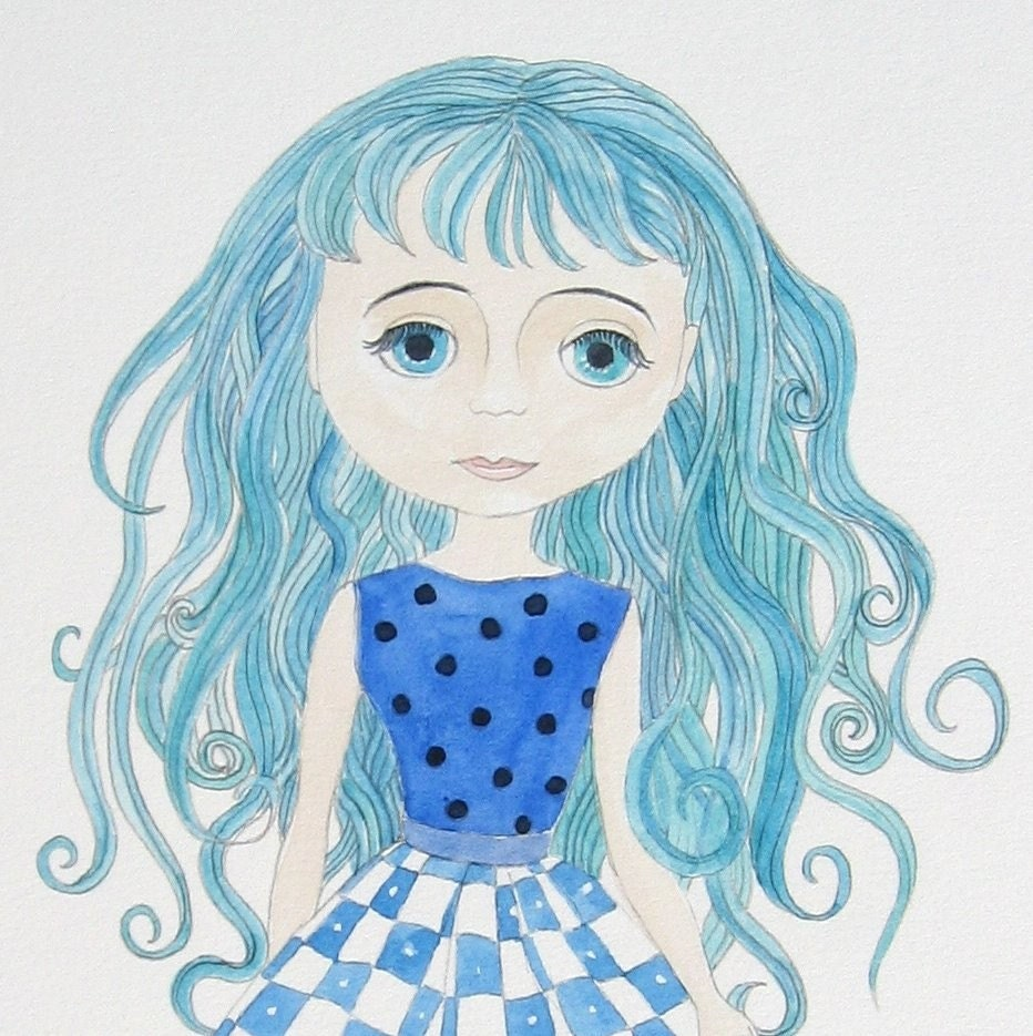 Enchanted Petal Niki - Portrait of a Blythe doll - Original Watercolour painting