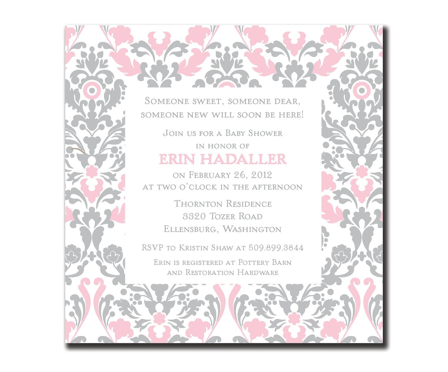 pink and gray damaske baby shower invitation diy by lauraleidesign