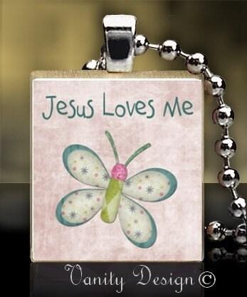 Jesus Loves Me Butterfly Recycled Scrabble Tile Pendant