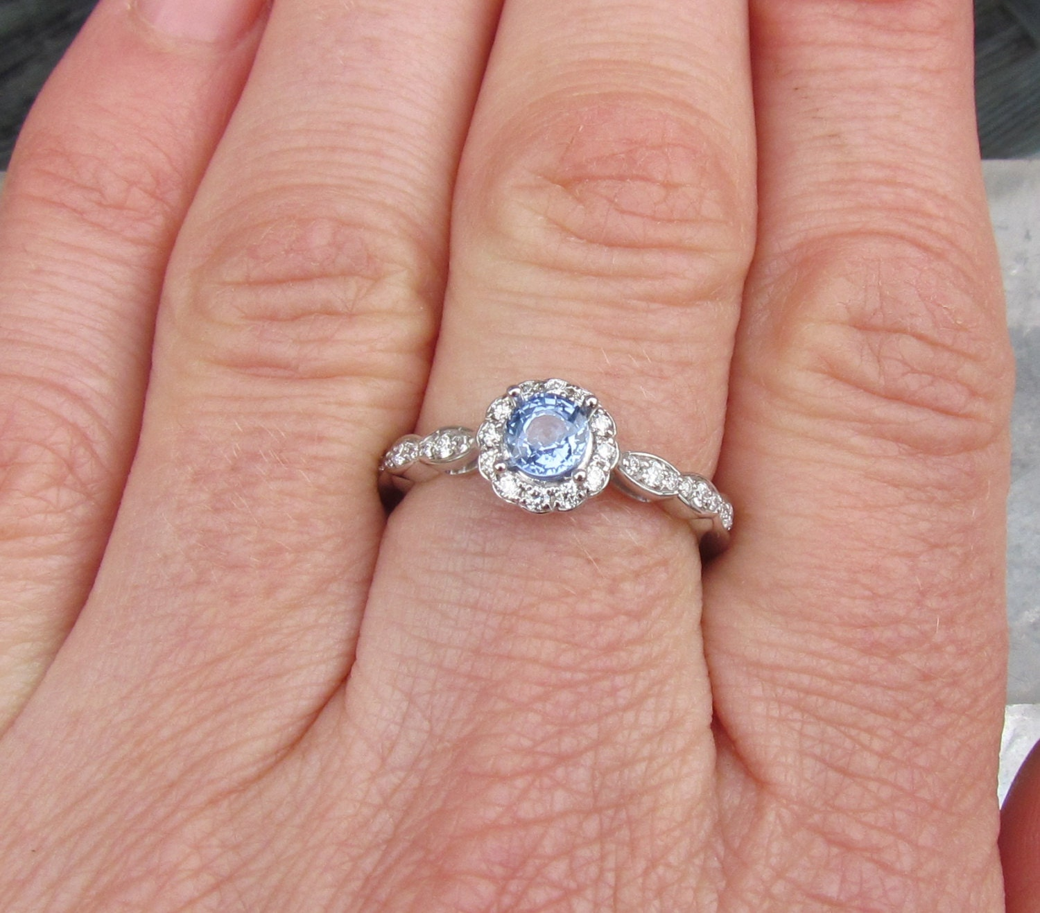 Engagement Ring Round Soft Blue Sapphire Set in by PristineJewelry