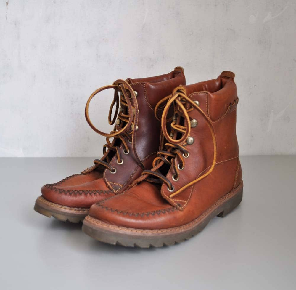 Model Vintage Vibram Suede Lace Up Hiking Boots Womens 8.5 Mens 5