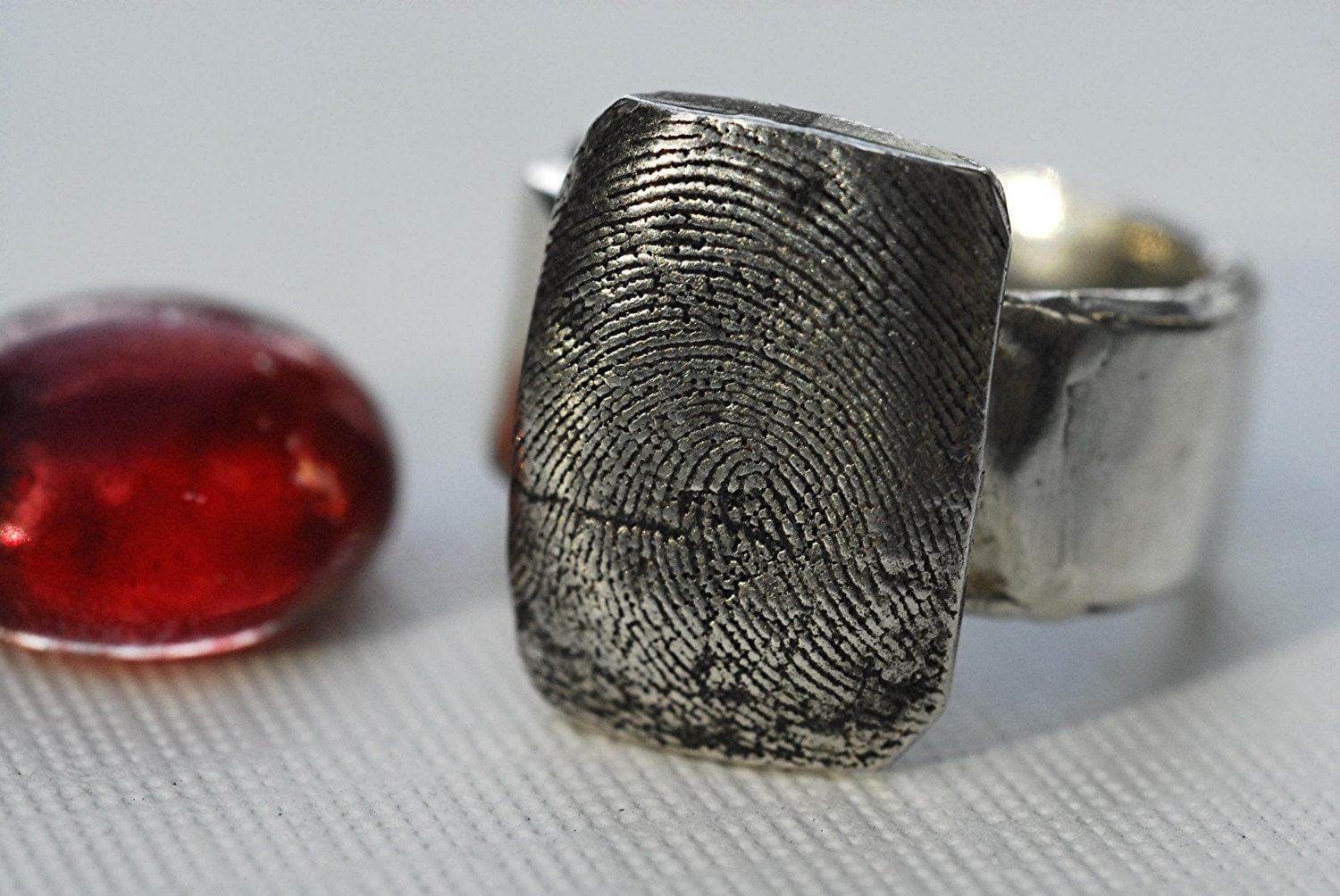 Sterling Silver Unisex Fingerprint Thumbprint Impression Ring