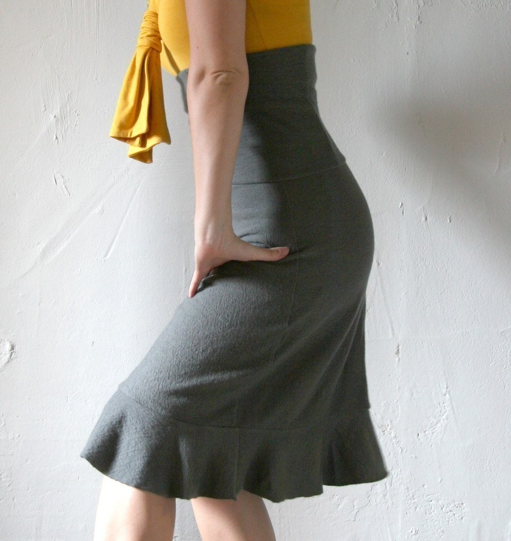 felted fine merino wool knit ruffled skirt - made to measure