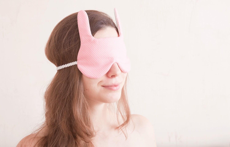 Bunny rabbit Sleep Mask. Gift Valentine's Day - JuliaWine