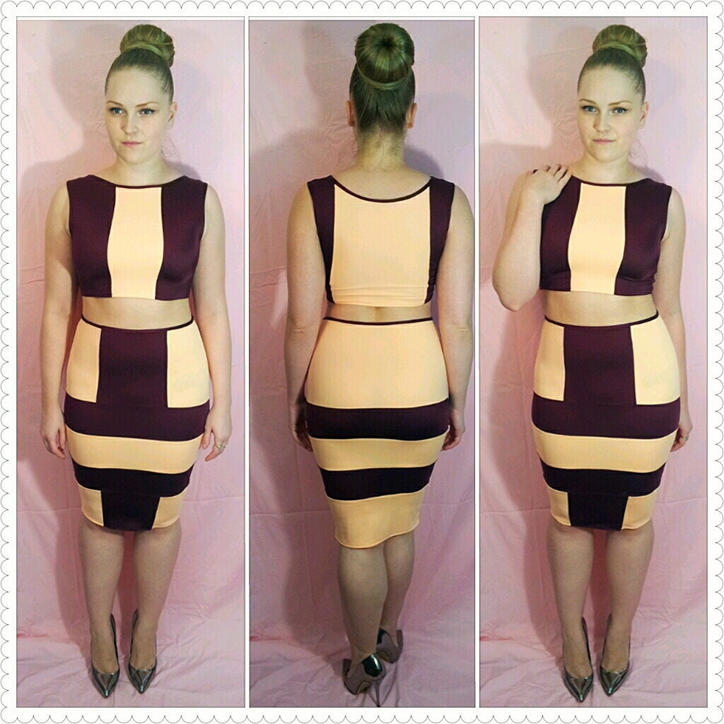 bodycon thriller 2 set crop top and pencil skirt by