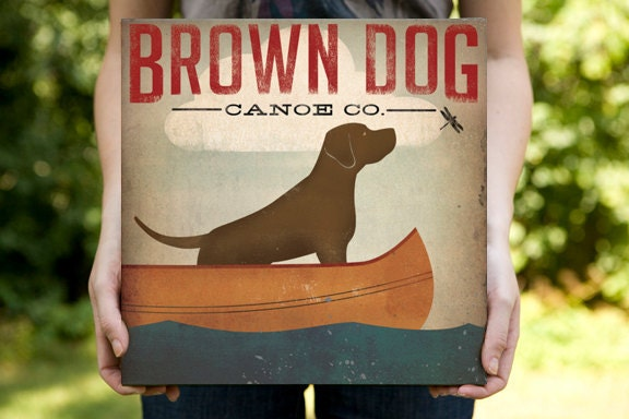 BROWN DOG Chocolate Labrador Canoe Ride Gallery Wrapped Varnished Canvas 12x12x1.5 Signed - nativevermont