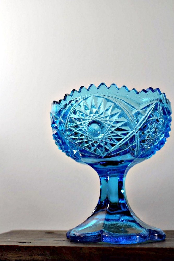 Blue Glass Compote. Stars and Diamonds.
