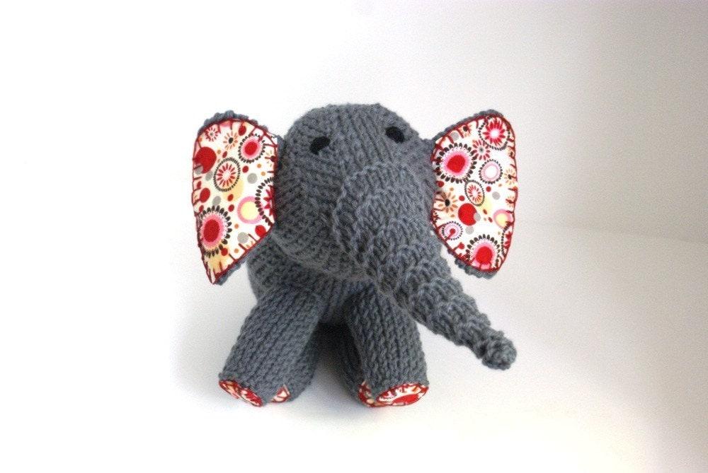 Handmade Knit Elephant Toy
