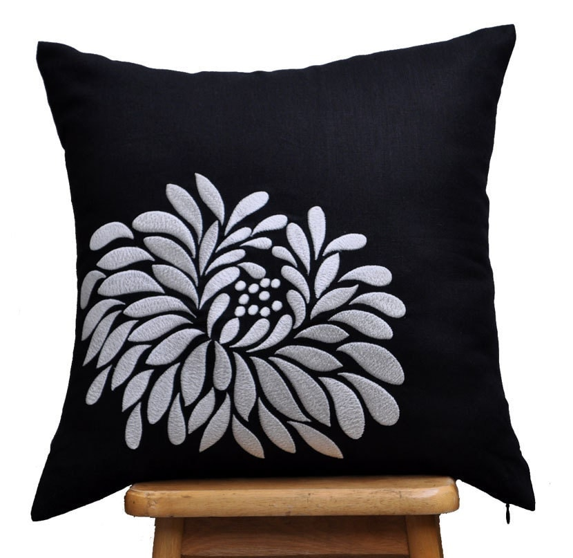 Light Gray Decorative Pillow : Gray Black Pillow Cover, Decorative Pillow Cover, Couch Pillow Cover, Light Grey Aster ...