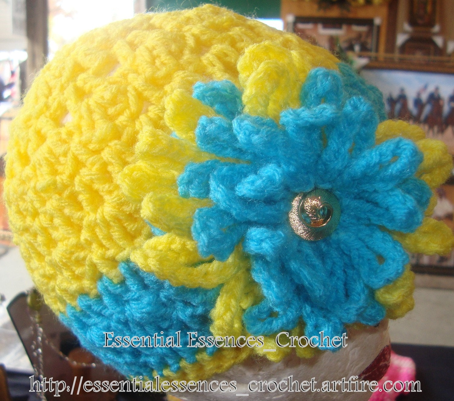 Bright Yellow & Torquise Flower Loose Beanie