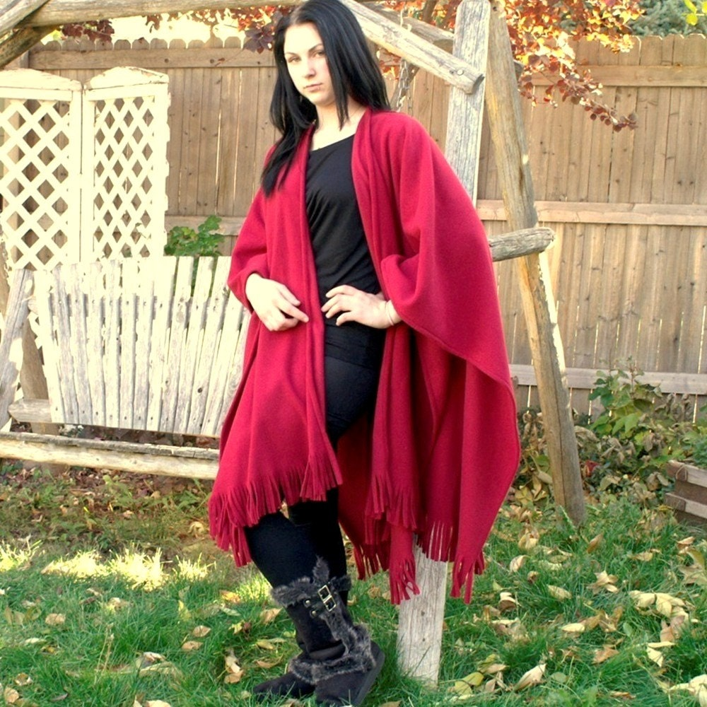 Crimson Red Fringed Anti Pill Fleece Shawl or Wrap--One Size Fits Most - youngbear