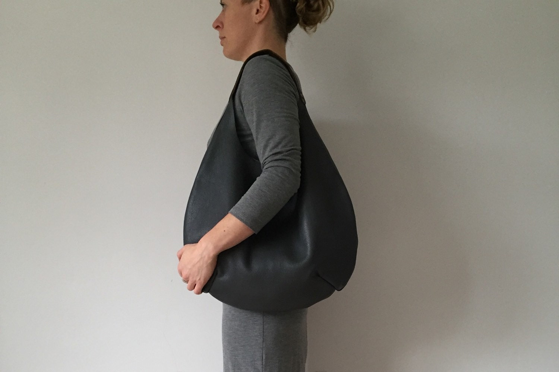 Large black leather round shoulder bag leather tote bag black leather bag black shoulder bag black handbag black toteleather shopper