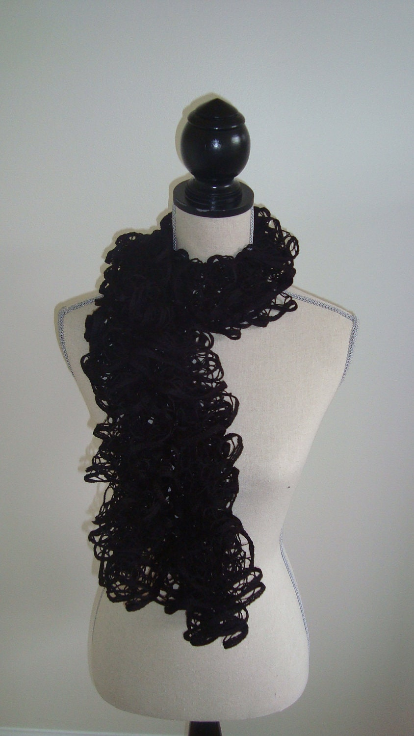 Lacey, black ruffle scarf