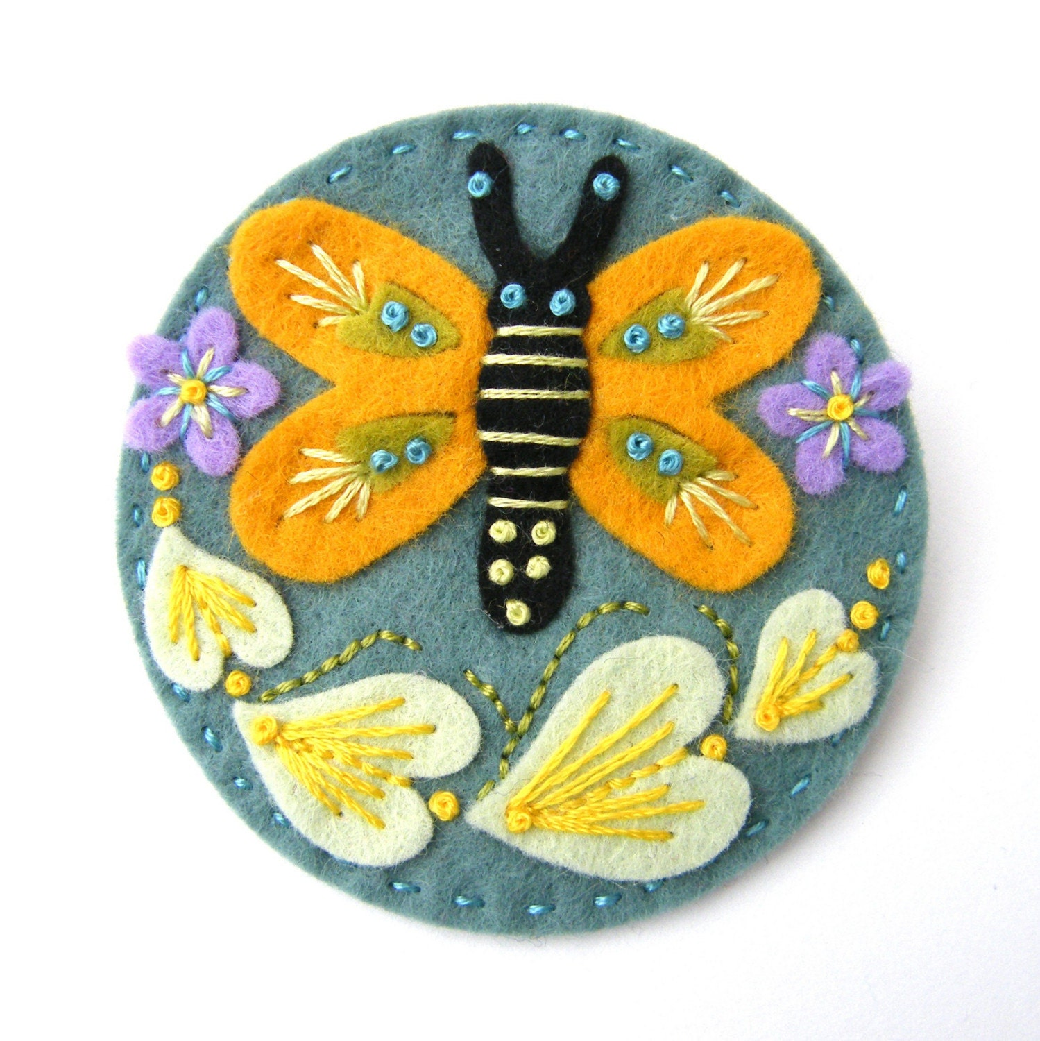 BUTTERFLY FELT BROOCH WITH FREEFORM EMBROIDERY