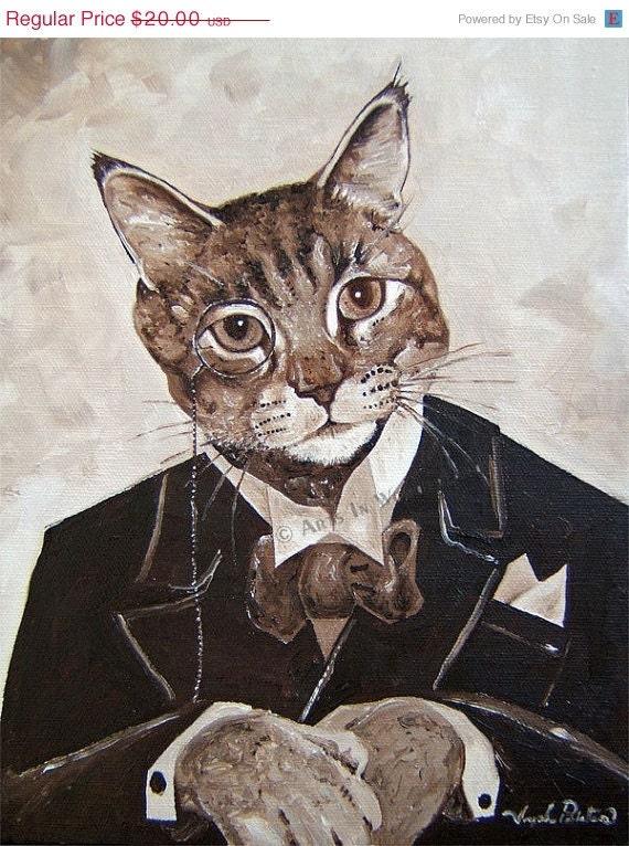 Pondering Paws Tabby cat art print