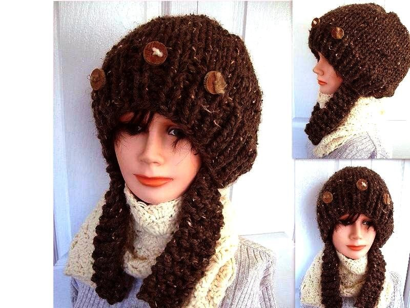 Knitting Patterns For Long Hats : knitting pattern hat Chunky hat with long by HatAndScarfPatterns