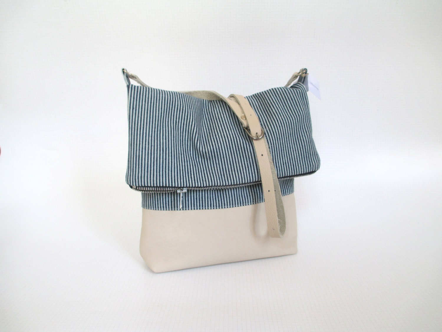 "Bag Big Shoulder bag "" spirit Marine "" and soft leather - LigneAurore"